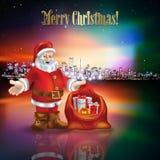 Salutation abstraite de Noël avec la silhouette de la ville Photographie stock libre de droits