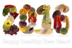 salutation 2016 avec des fruits et légumes sur le fond blanc Photo libre de droits