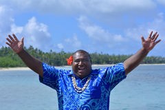Salutation bonjour Bula d'homme de Fijian photos stock