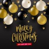 Salutation calligraphique de Noël, étoiles d'or et babioles de Noël d'or de noir, de blanc et de scintillement illustration libre de droits
