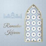 Salutation d'arabesque d'or d'illustration de vecteur de Ramadan Kareem, mois heureux Ramadan, fenêtre arabe, mosquée de silhouet illustration stock