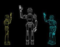 Salutation de caractère de robot D'isolement sur le fond noir Vecteur o illustration de vecteur