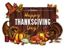 Salutation de croquis de vecteur de récolte de dinde de thanksgiving illustration de vecteur