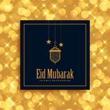 Salutation de festival de Mubarak d'eid d'or belle illustration stock