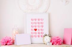 Salutation de jour de valentines dans le rétro style Photographie stock libre de droits