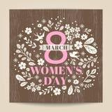 Salutation de jour du ` s de femmes avec l'illustration florale sur le fond en bois illustration libre de droits
