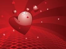 Salutation de jour de Valentins avec le coeur 3d Photo stock