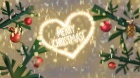 Salutation de Joyeux Noël de forme de coeur dans la neige avec les branches décorées illustration de vecteur