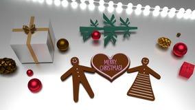 Salutation de Joyeux Noël de forme de coeur et bonhomme en pain d'épice et femme illustration de vecteur