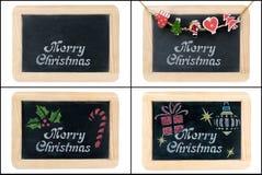 Salutation de Joyeux Noël sur des cadres de tableau Photo stock