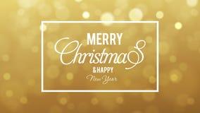 Salutation de Joyeux Noël sur le bokeh d'or illustration de vecteur