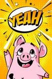 Salutation de la bannière avec le porc de bande dessinée et le nuage des textes sur le fond orange Carte de vacances dans le styl illustration stock