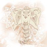 Salutation de la belle carte avec l'éléphant Vue d'animal faite dans l'illustration d'éléphant de vecteur pour des textiles de mo Illustration de Vecteur