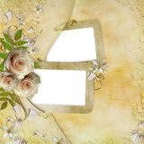Salutation de la carte d'or avec de belles roses Photos libres de droits