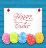 Salutation de la carte de papier avec des oeufs d'Ornamental de Pâques illustration libre de droits