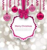 Salutation de la carte de papier avec le ruban et le Noël d'arc illustration stock