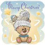 Salutation de la carte de Noël avec la bande dessinée Teddy Bear illustration stock