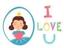 Salutation de la carte romantique pour le Saint Valentin Fille avec la couronne tenant le coeur dans des mains J'aime le texte d' Photographie stock