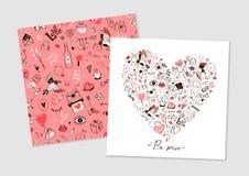 Salutation de la carte tirée par la main au jour du ` s de Valentine Image stock