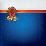 Salutation de Noël avec des handbells et des bandes de cadeau Images stock
