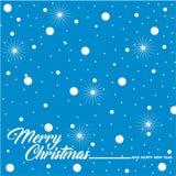 Salutation de Noël avec la neige et les étoiles Image libre de droits