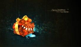 Salutation de Noël avec le seul cadre de cadeau illustration libre de droits