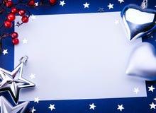 Salutation de Noël d'art sur le fond bleu Image stock