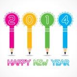Salutation de nouvelle année avec l'ampoule de crayon, 2014 Image libre de droits