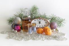 Salutation de nouvelle année avec le champagne et les mandarines photo libre de droits
