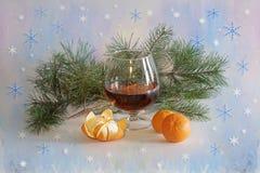 Salutation de nouvelle année avec le champagne et les mandarines photographie stock