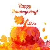 Salutation de potiron de thanksgiving peinte par aquarelle Photo libre de droits