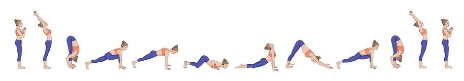 Salutation de Sun Namaskara de Surya Ordre de yoga illustration stock