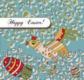 Salutation de vacances de Pâques avec un poulet idiot Image stock