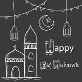 Salutation heureuse d'Eid Mubarak, style de dessin de main avec la mosquée, lanternes et croissant de lune photos libres de droits
