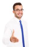 Salutation heureuse d'homme d'affaires quelqu'un au-dessus du fond blanc Photos libres de droits