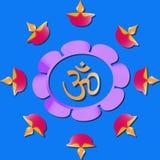 Salutation heureuse de Diwali avec le diya ou les lumières illustration stock