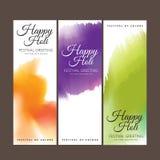 Salutation heureuse de festival de Holi, célébration de Holi, conception de vecteur Photo libre de droits