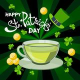 Salutation heureuse de jour du ` s de St Patrick Jour du ` s de St Patrick de lettrage dessus Illustration Stock