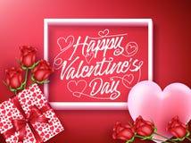 Salutation heureuse de jour de valentines à l'intérieur du cadre avec le coeur Photo stock