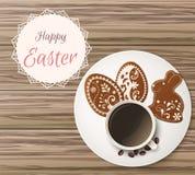 Salutation heureuse de Pâques, pain d'épice sous forme d'oeufs Vacances de ressort, fond de Pâques Photographie stock
