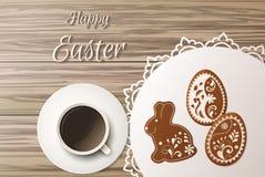 Salutation heureuse de Pâques, pain d'épice sous forme d'oeufs Vacances de ressort, fond de Pâques Photographie stock libre de droits