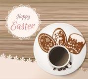 Salutation heureuse de Pâques, pain d'épice sous forme d'oeufs Vacances de ressort, fond de Pâques Images libres de droits