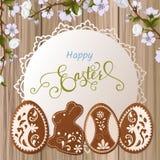Salutation heureuse de Pâques, pain d'épice sous forme d'oeufs Vacances de ressort, fond de Pâques Images stock