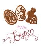Salutation heureuse de Pâques, pain d'épice sous forme d'oeufs Vacances de ressort, fond de Pâques Image libre de droits