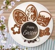 Salutation heureuse de Pâques, pain d'épice sous forme d'oeufs Vacances de ressort, fond de Pâques Image stock