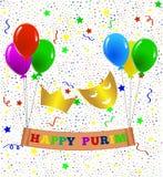 Salutation heureuse de Purim avec des ballons et des confettis illustration stock