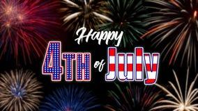 Salutation heureuse du 4 juillet avec le fond noir images libres de droits