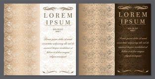 Salutation, invitation, mariage, carte dans le style de vintage en or, chocolat, nuances en bronze illustration libre de droits
