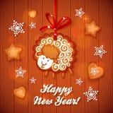 Salutation mignonne de Noël de moutons de pain d'épice doux Photos stock