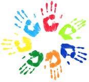 Salutation multicolore de cercle de paume Image stock